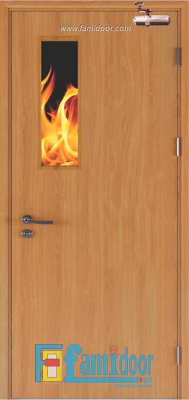 Cửa gỗ chống cháy GCC-P1G ở Showroom Famidoor 0818.400.400