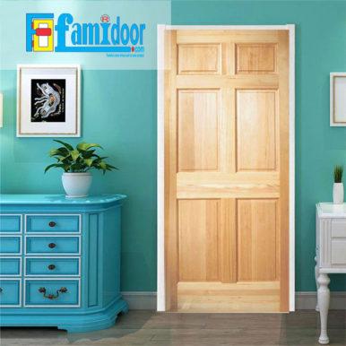 Cửa gỗ tự nhiên 06A tại Showroom Famidoor mang vẻ đẹp của tự nhiên, khi lắp đặt cửa gỗ cũng sẽ hiển thị các biểu tượng của vân gỗ nhìn đẹp và có sự lôi cuốn.
