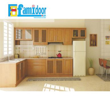Tủ kệ bếp KP2 tại Showroom Famidoor cđược làm từ những chất liệu vô cùng cao cấp, đảm bảo về độ bền và khả năng chống chịu tốt nhất trước những tác động từ môi trường bên ngoài.