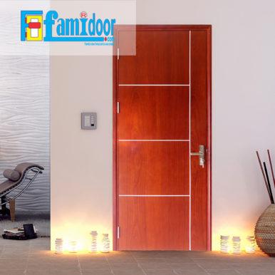 Cửa gỗ MDF LAMINATE P1R4b XOAN ĐÀO tại Showroom Famidoor thuộc dòng sản phẩm cửa gỗ công nghiệp MDF phủ nhựa.