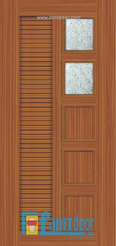Cửa nhựa gỗ ghép thanh NG Y26 Showroom Famidoor 0818.400.400