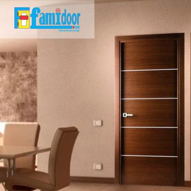 Cửa gỗ cao cấp fmd L-N4 ở Showroom Famidoor có giá hợp lý, chỉ bằng một nửa giá so với gỗ tự nhiên thật nguyên tấm.