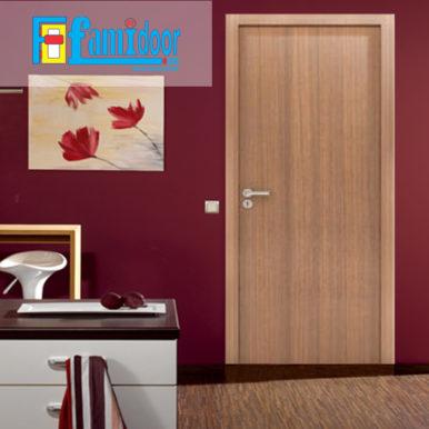 Cửa gỗ MDF LAMINATE L6 tại Showroom Famidoor thuộc dòng sản phẩm cửa gỗ công nghiệp MDF phủ nhựa.