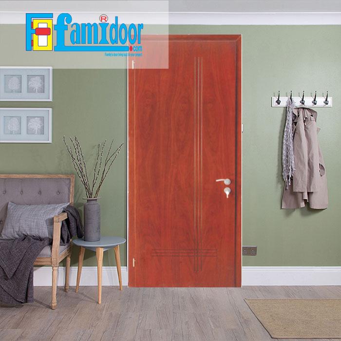 Cửa gỗ MDF VENEER P1R6 tại Showroom Famidoor chính là gỗ tự nhiên, tuy nhiên được lạng mỏng từ cây gỗ tự nhiên, gỗ veneer chỉ dày từ 1mm cho đến 2ly là nhiều.