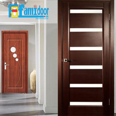 Cửa gỗ cao cấp fmd L N6D1 ở Showroom Famidoor có giá hợp lý, chỉ bằng một nửa giá so với gỗ tự nhiên thật nguyên tấm.